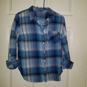 Cotton Button-Down Top w/Cuff Sleeves